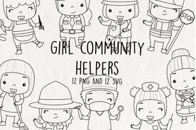 Girl Community Helpers Stamps SVG Clip Art