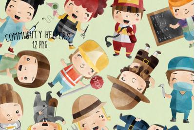 Watercolor Community Helpers | Set of 12 | PNG |