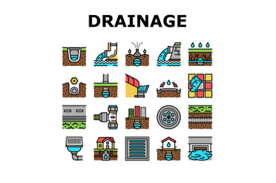 Drainage Water System Collection Icons Set Vector