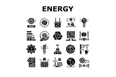 Energy Saving Tool Collection Icons Set Vector
