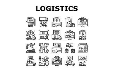 Logistics Business Collection Icons Set Vector Illustration