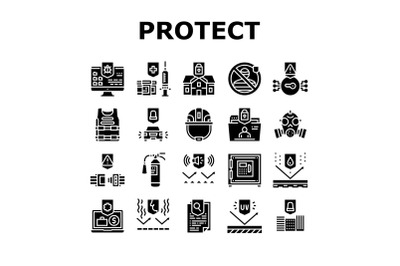Protect Technology Collection Icons Set Vector Illustration