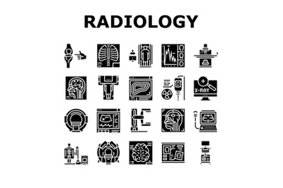Radiology Equipment Collection Icons Set Vector Illustration