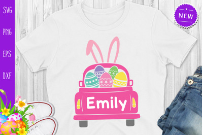 Easter Truck Svg, Easter Truck With Girl Name Svg, Easter Bunny Truck