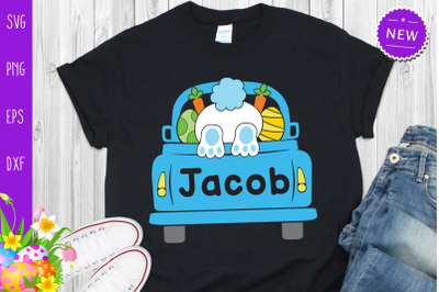 Easter Bunny In Truck Svg, Easter Truck With Boy Name Svg
