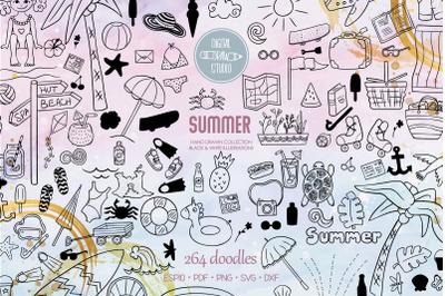 Summer Season Doodles | Hand Drawn Beach, Coconut Tree, Sun, Ice Cream