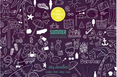 Summer Season, Beach, Coconut Tree, Sun,  Ice Cream, White Doodles