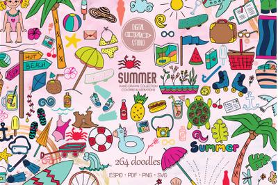 Summer Season, Beach, Coconut Tree, Sun,  Ice Cream, Color Doodles
