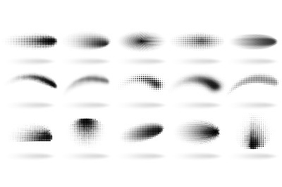Halftone dotted shapes. Abstract dots gradient wave effect shapes&2C; hal