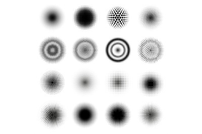 Halftone round patterns. Circle dots gradient vector frames&2C; dotted te