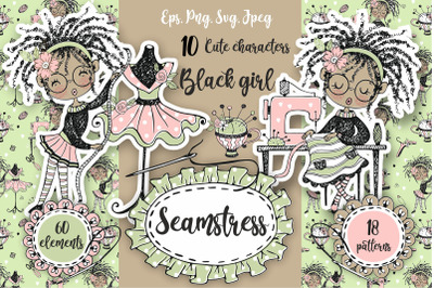 Black girls are seamstresses. Sewing, tailor Png Svg