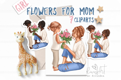 Mothers Day clipart download. Mother-daughter clip art. Mom of girls p