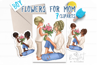 Mothers Day clipart. Mother son clip art. Mom of boy planner sticker.