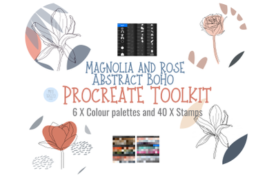 Boho Abstract Magnolia & Rose Procreate stamp brushes X 40 and palette