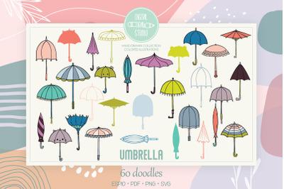 Umbrella Colored | Hand Drawn Vintage Beach Parasol