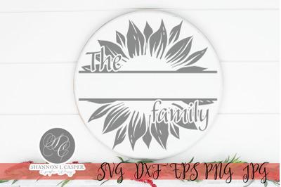 Split Sunflower Family Sign Template