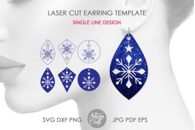Snowflake earring SVG&2C; laser cut files&2C; single line SVG&2C; engrave&2C; scor