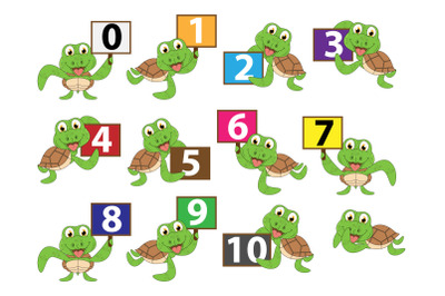 cute turtle animal cartoon with number