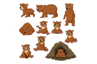 Set of Ten Cute Cartoon Bear Animals