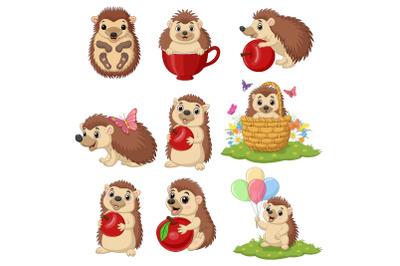Set of Nine Cute Cartoon Hedgehog Animal