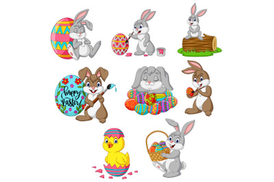 Set of Cartoon Easter Bunnies with Chick