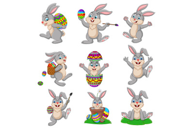 Set of Nine Cartoon Easter Bunny Bundle