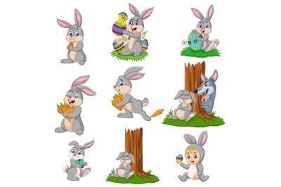 Set of Nine Cute Cartoon Easter Bunny