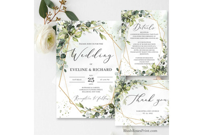 Greenery Foliage Wedding Invitation suite Editable Template DIY Digi