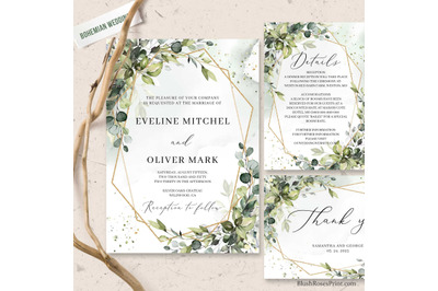 Green and Gold Geometric Frame Wedding Suite Editable Template DIY