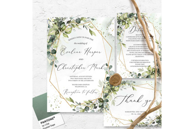 Modern Greenery Foliage Gold Geometric Wedding Invitation Suite DIY