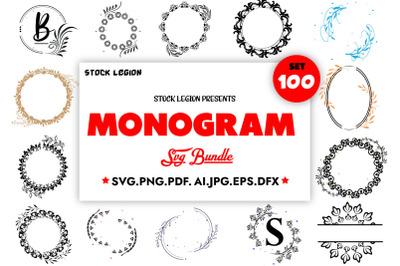100 Monograms SVG Bundle