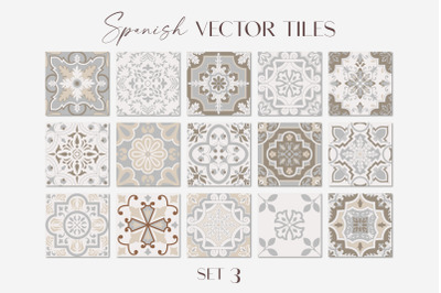 Spanish Tiles Vector Mediterranean Mosaic Set 3