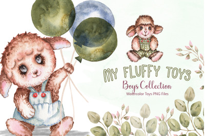 Watercolor Fluffy Toys Boys Collection