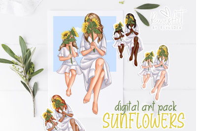 Mothers Day clipart. Mom and daughter in bathrobes. Sunflowers. Mommy