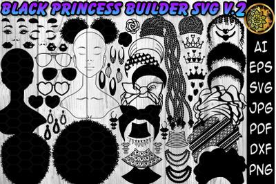 Black Princess Builder SVG Clipart Set 2