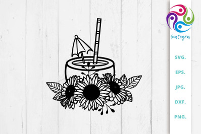Summer Cocktail With Sunflowers Svg File
