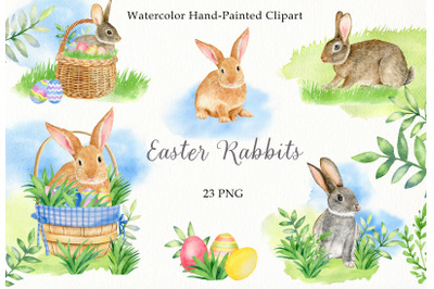 Watercolor easter rabbits clipart set. Hand drawn spring clip art PNG