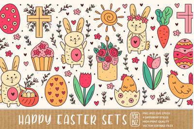 Happy Easter doodle elements.