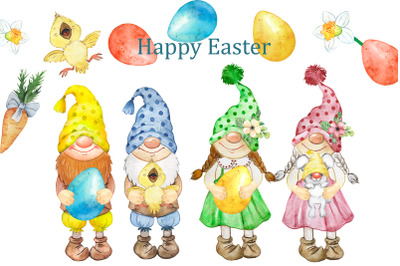 Happy Easter watercolor clipart. Easter gnomes with rabbit and chick