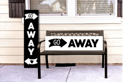 Modern Go Away Porch Sign with Arrow | SVG | PNG | DXF | EPS