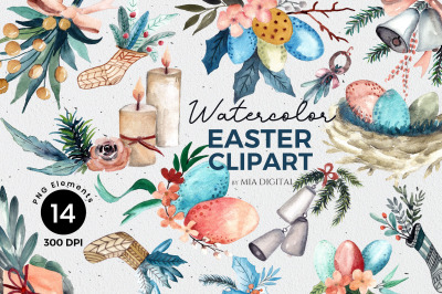 Watercolor Easter Clipart/Hand-painted Eggs, Flowers, Bell