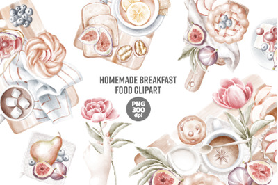 Homemade breakfast food compositions clipart png