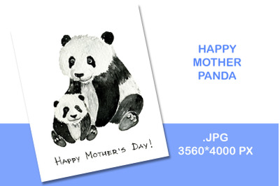 Panda illustration watercolor template of mother's day card