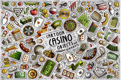 Casino Cartoon Objects Set