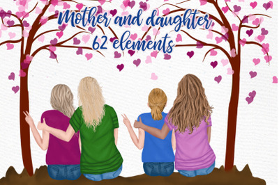 Mother and daughter, Family clipart, Parent clipat, Mom mug clipart