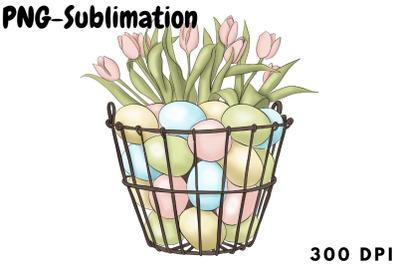 Easter Eggs Basket Png Sublimation