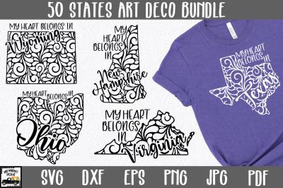 50 States SVG Bundle - US State SVG Cut Files - Art Deco SVG Designs