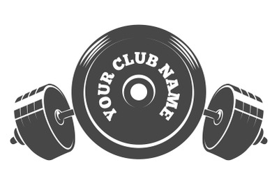 Fitness or Athletic club emblem with barbell