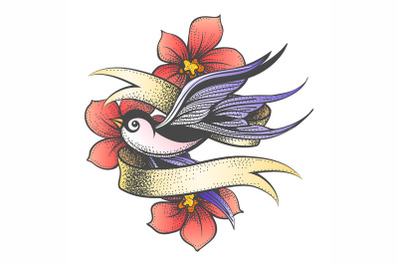 Flying Swallow with Golden Ribbon and Flowers Tattoo