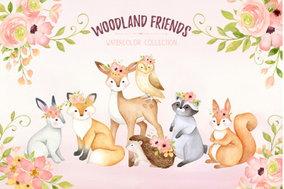 Woodland animals clipart, watercolor nursery print